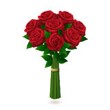 Red roses bouquet on white background. Bunch of red roses with shadow  on white background. Vector illustration Stock Photo