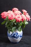Red roses in a bowl. Fifteen red roses in a gzhel bowl Royalty Free Stock Image