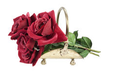 Red Roses in a Brass Carrier Stock Photos