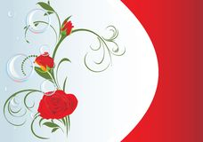 Red roses with bubbles and floral ornament. Card Stock Photography
