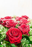 Red roses bunch on light background, close up. Royalty Free Stock Images