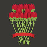 Red roses. Bunch of twelve red roses with red ribbon for your text Royalty Free Stock Image