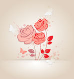 Red roses and butterflies Royalty Free Stock Image