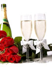 Red Roses and Champagne Stock Photo