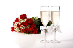 Red Roses and Champagne Stock Photos