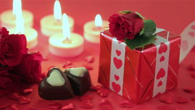 Red roses and chocolate candies for Valentine's Day stock video