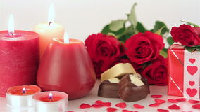 Red roses and chocolate candies for Valentine's Day stock video footage
