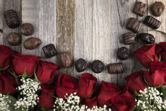 Red Roses and Chocolates stock photo