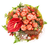 Red roses with christmas decoration and ornaments Stock Photography