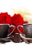 Red roses and coffee stock images