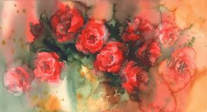 Red roses colorful background watercolor Royalty Free Stock Images