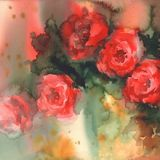 Red roses colorful background watercolor Stock Image