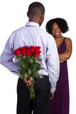 Red Roses Couple. Man woman red roses couple Stock Photography