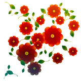 Red roses decorative. Red roses with flying leafs decorative illustration Stock Images