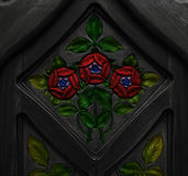 Red roses on the door Royalty Free Stock Photo