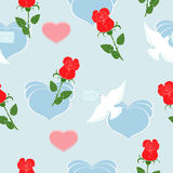 Red roses and dove. On blue background Stock Photo