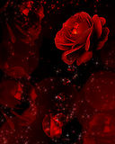 Red roses dripping crystals vector illustration