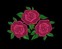 Red roses embroidery on black background. Royalty Free Stock Photo