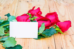 Red roses and empty tag. Red roses and empty tag for your text Stock Photography