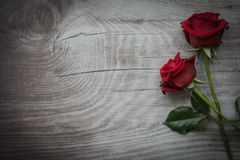 Red roses on empty wooden background. Red roses on background with space for text royalty free stock image