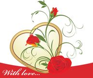 Red roses with floral ornament and golden heart Royalty Free Stock Image