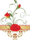 Red roses with floral ornament. Retro style Stock Photo
