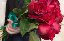 Red roses flower gift. Man is giving red roses bouquet Stock Images