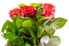 Red roses flowers in a floral arrangement, bouquet close up, isolated Stock Images
