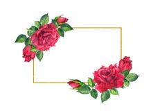 Red roses flowers - floral border. Watercolor frame stock illustration