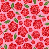 Red roses flowers pattern seamless on pink background Royalty Free Stock Photography