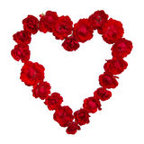 Red roses forming a heart shape Stock Photo