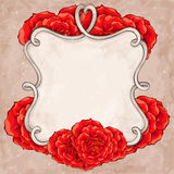 Red roses frame Stock Photography