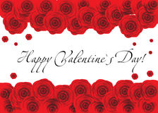 Red roses frame over white background. Copyspace Stock Image