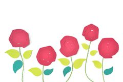 Red Roses in garden paper cut on white background royalty free stock photo