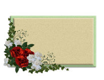 Red roses and Gardenias label royalty free stock photos
