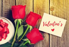Red roses and Valentines day greeting card stock images