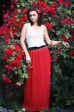 Red roses girl Stock Image