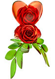 Red roses and glass heart for Valentine's Day Royalty Free Stock Photos