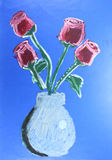 Red roses in glass jar painting Royalty Free Stock Images