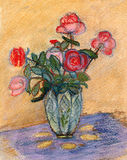 Roses on a table. Red roses in the glass vase standing on a table, covered with a cloth Royalty Free Stock Images