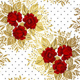 Red roses on gold background. Floral pattern. Royalty Free Stock Photography