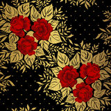 Red roses on gold background. Floral pattern. Stock Photos