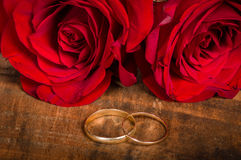 Red roses with gold bands Stock Photography