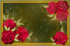 Red roses on a green background. stock photo