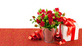 Red roses with green leaves Stock Photos