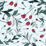 Red roses with green leaves on a white background. Seamless vect royalty free illustration