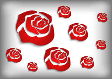 Red roses on grey background Royalty Free Stock Image