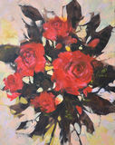 Red roses, handmade  painting. Red roses, handmade oil painting on canvas Stock Photography