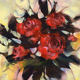 Red roses, handmade  painting. Red roses, handmade oil painting on canvas Stock Images