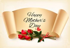 Red roses with a Happy Mother`s Day note and red ribbon. Vector.Vector Stock Images
